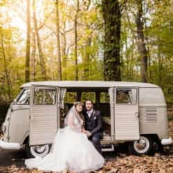 Bride and Groom in a VW camper by Sheffield Wedding Photographer Stu Ganderton