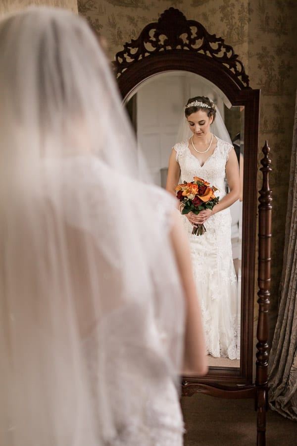 An elegant and sophisticated last moment before her wedding at Rossington Hall Photography by Stu Ganderton Wedding Photography.