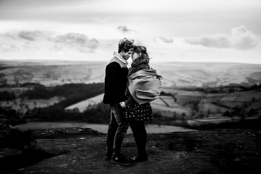 engagement photograph in the peak district by sheffield wedding photographer Stu ganderton