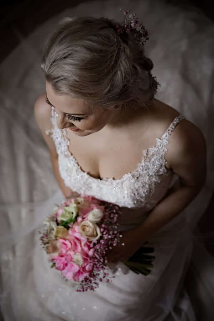 the bride at peckforton castle cheshire,